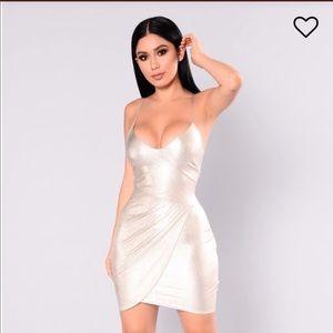 Fashion Nova Crisandra Metallic Gold Dress